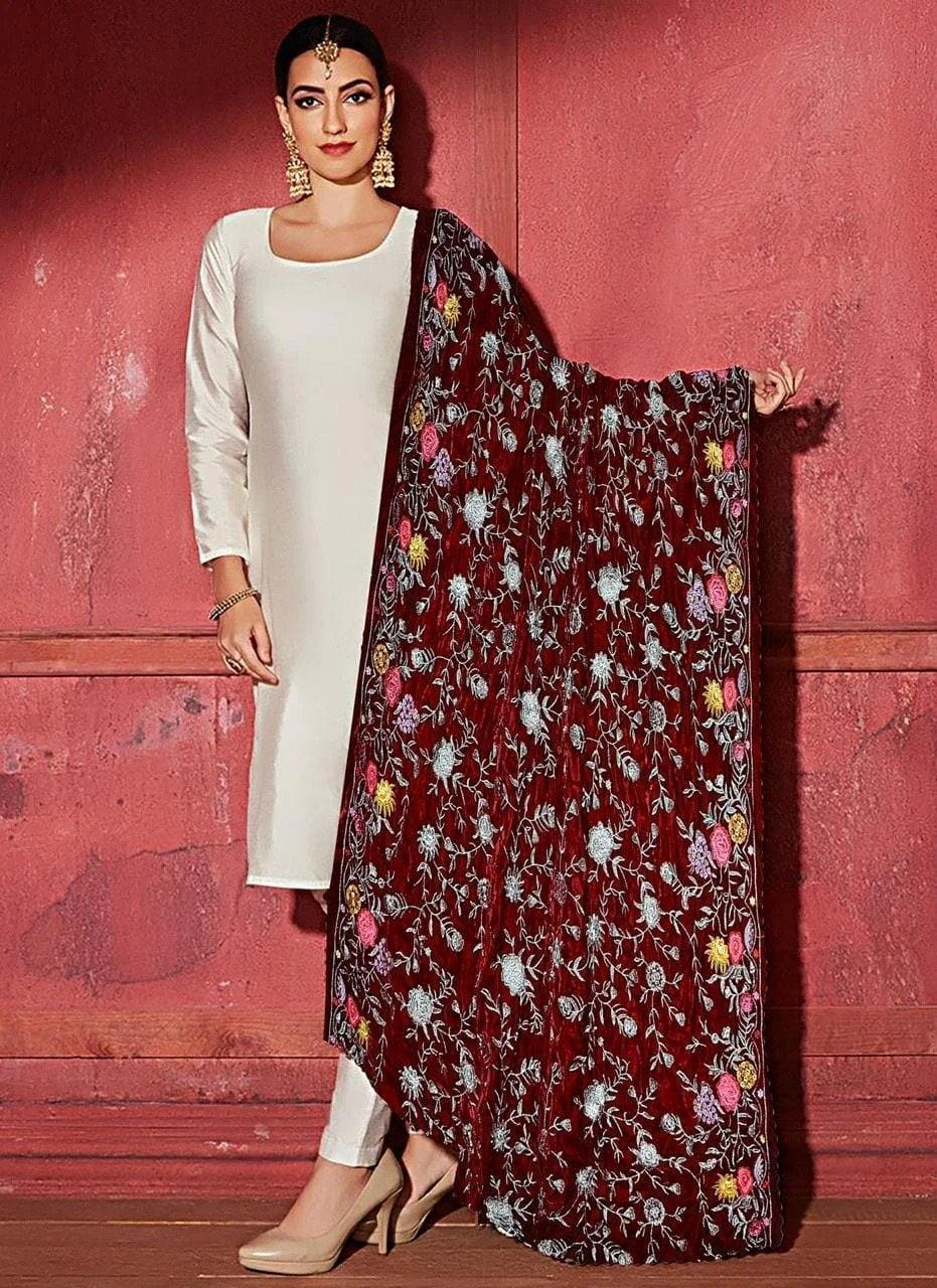 Bareeze BRS-06 Mehroon  Embroidered Heavy Velvet Shawl Winter Collection
