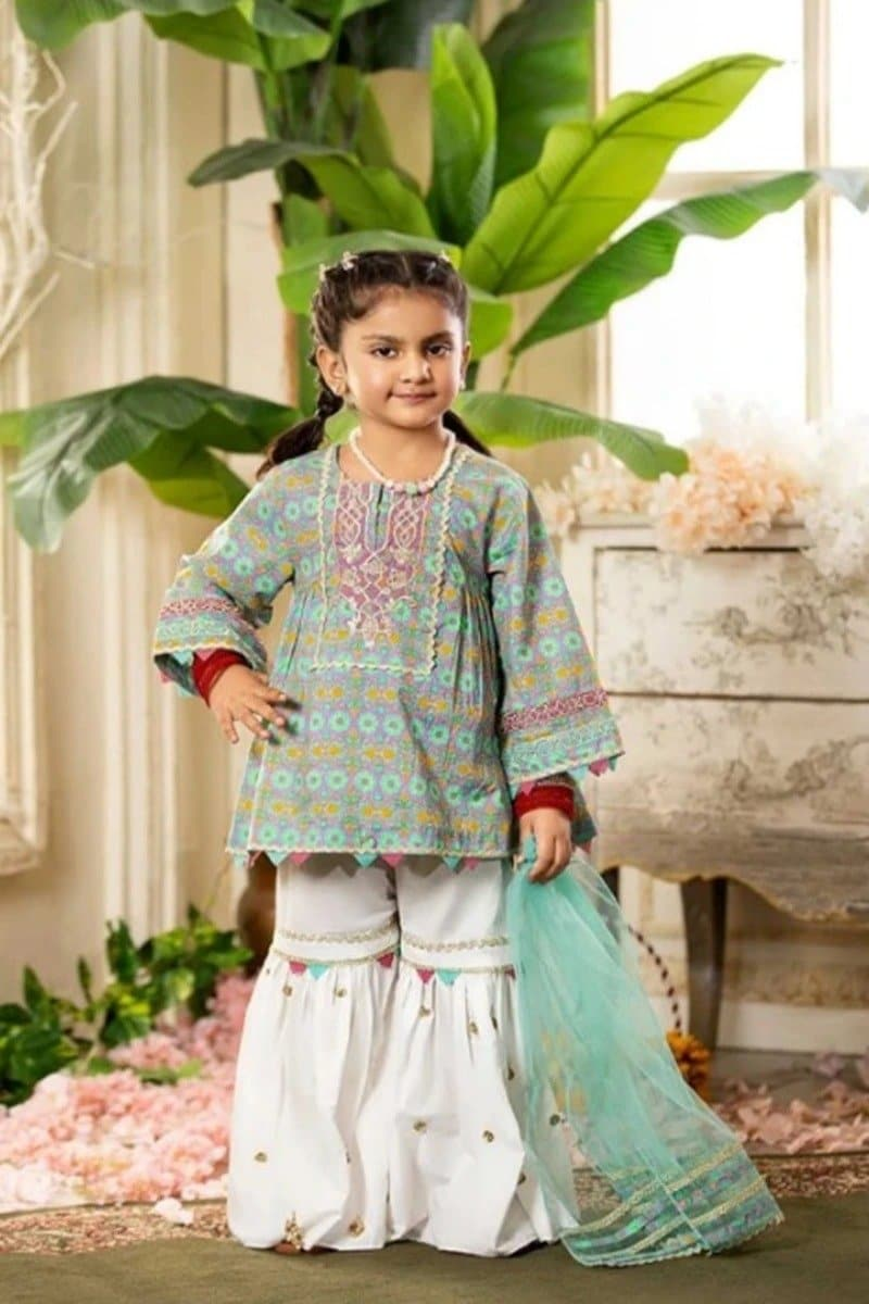 CS-05 pink Printed_Embroidered kids Wear Lawn two piece