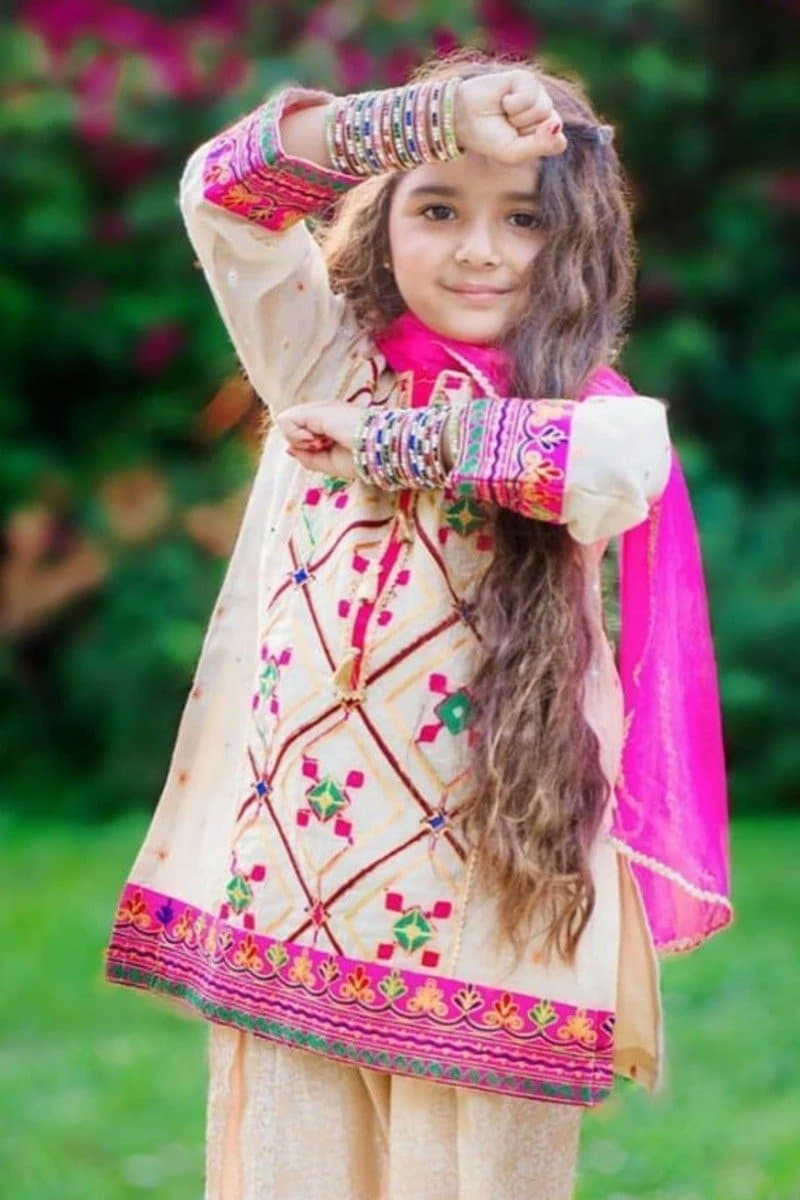 Maria B D-312 Skin kids Wear Lawn Embroidered two piece