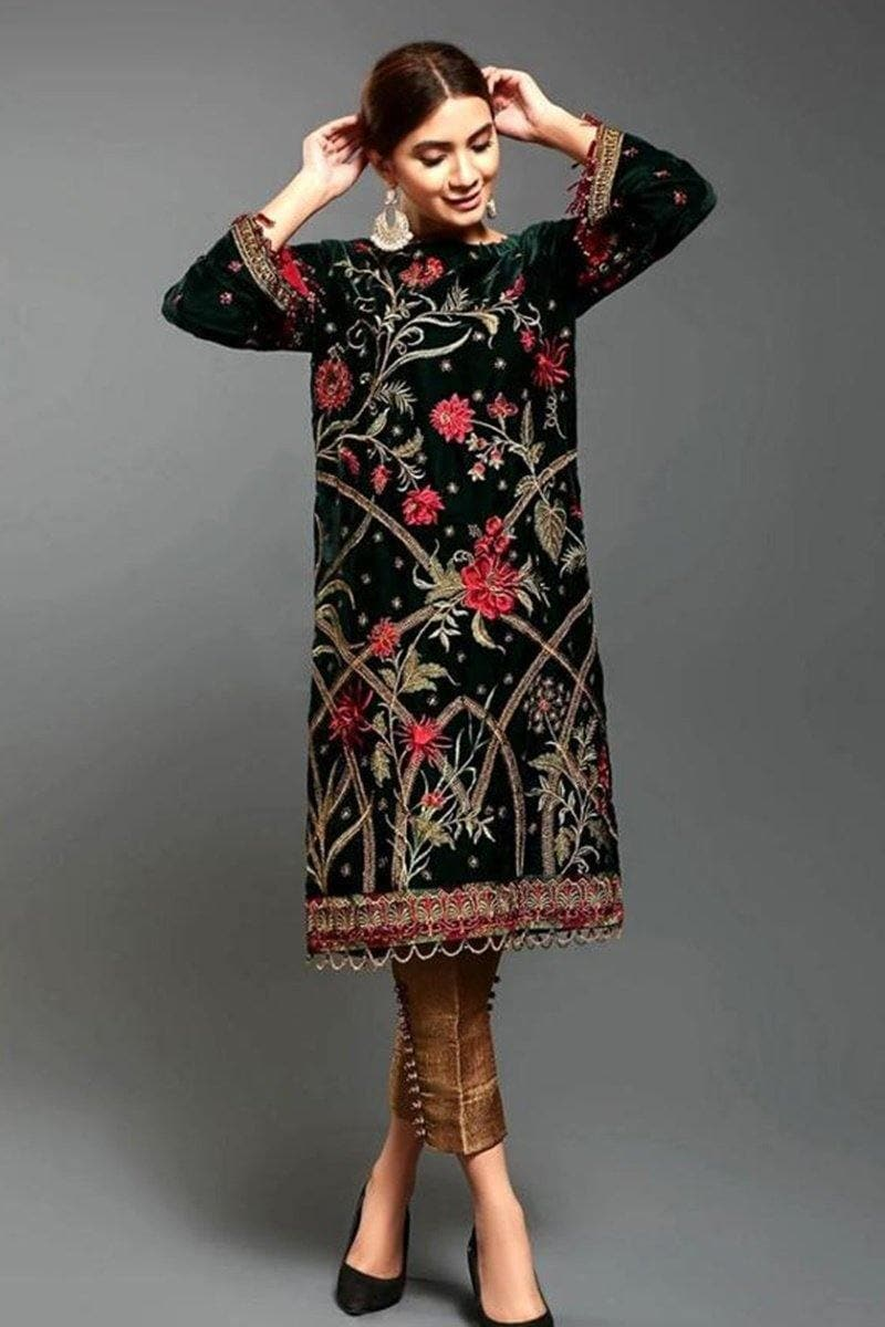 Afrozeh Margarita Embroidered Velvet two piece Winter Collection - Chenab Stuff