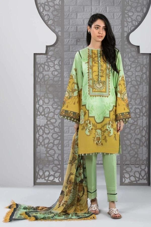 3 pcs D-07 Embroidered Linen Suit