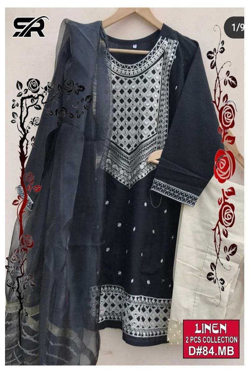 AGHA NOOR  D-84, UNSTITCHED EMBROIDERED 2PC DRESS - Chenab Stuff