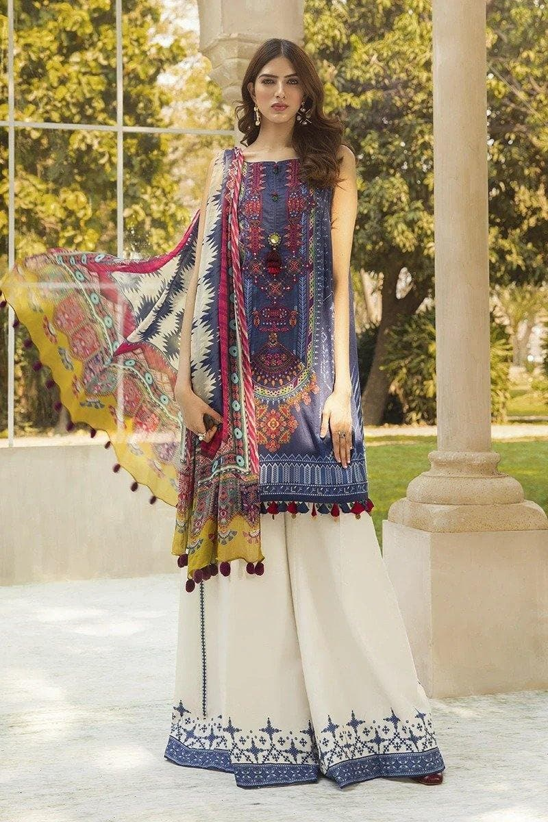 3 pcs MB321-B Heavy Embroidered Lawn Suit