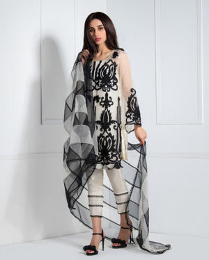 EMBROIDERED ORGANZA 3 PC DRESS WITH ORGANZA PRINTED DUPATA- 100033