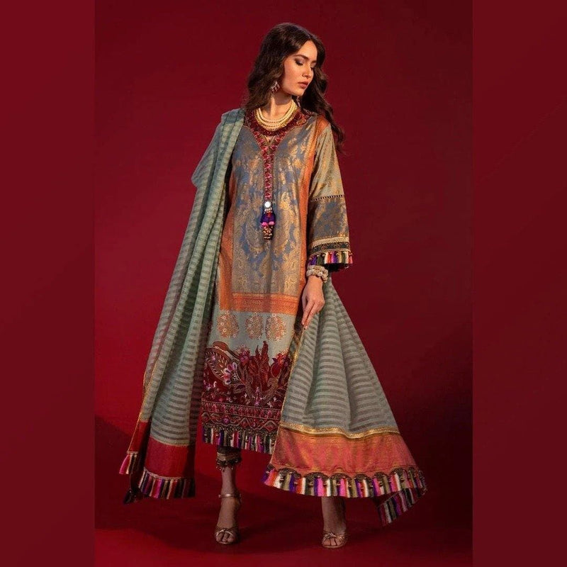 3 PCS SANA SAFINAZ EMBROIDERED LINEN SUIT WITH WOOL SHAWL CODE D-29B