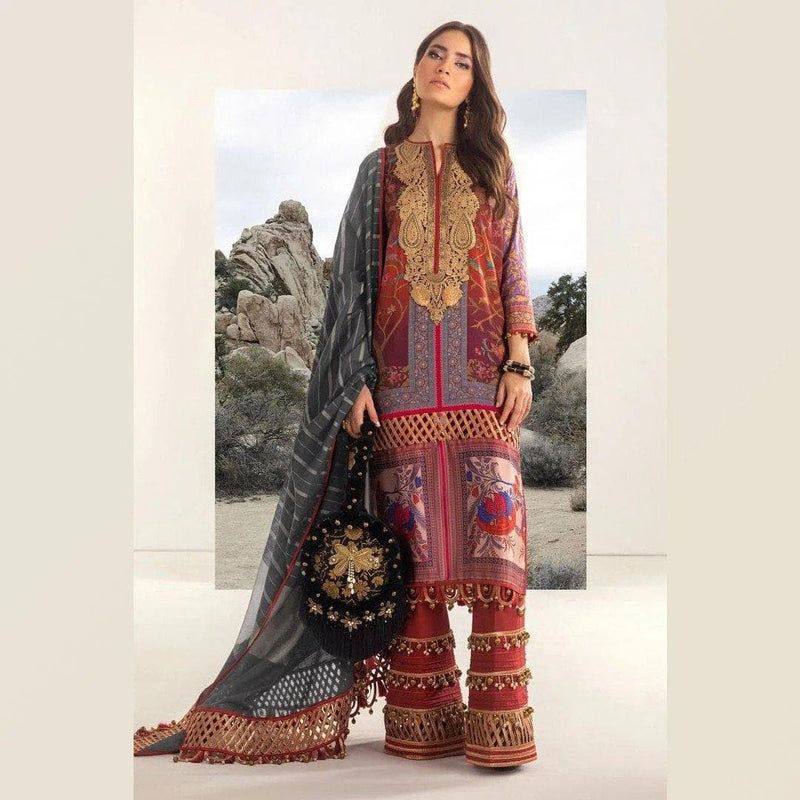 3 PCS SANA SAFINAZ EMBROIDERED LINEN SUIT WITH WOOL SHAWL CODE D-30B