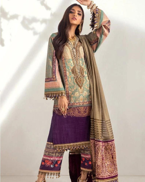 3 PCS SANA SAFINAZ EMBROIDERED LINEN SUIT WITH WOOL SHAWL CODE D-31B - Chenab Stuff