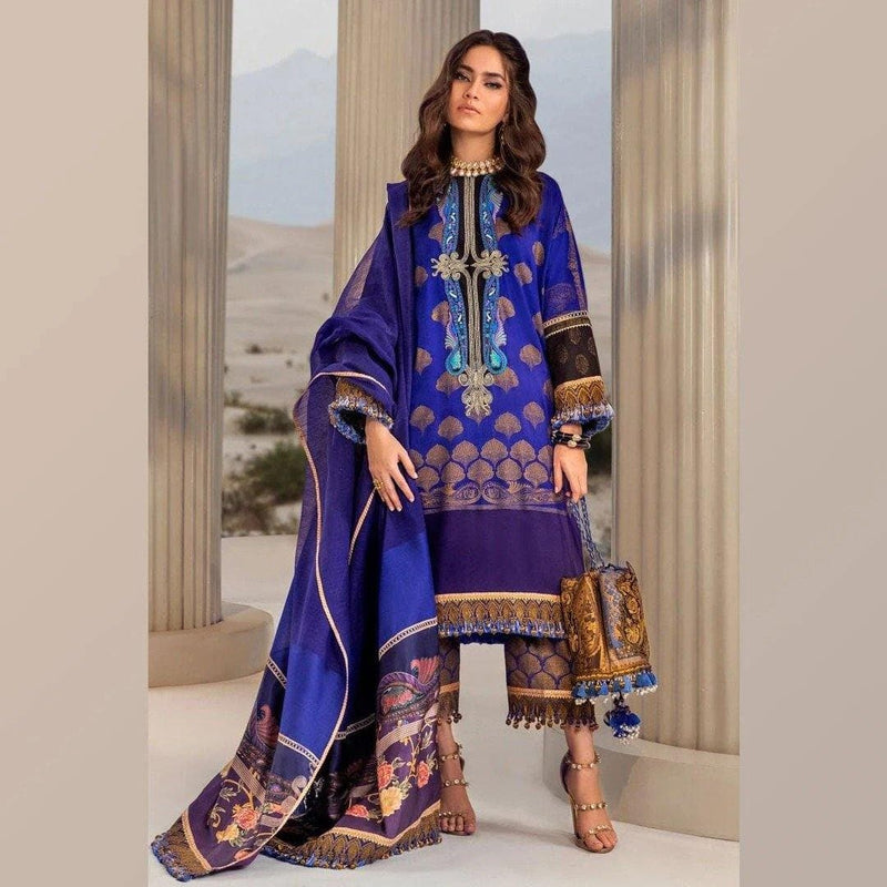 3 PCS SANA SAFINAZ EMBROIDERED LINEN SUIT WITH WOOL SHAWL CODE D-34A
