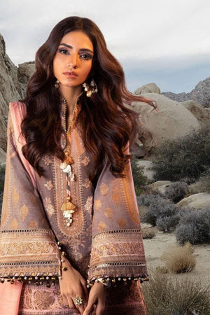 3 PCS SANA SAFINAZ EMBROIDERED LINEN SUIT WITH WOOL SHAWL D-35A