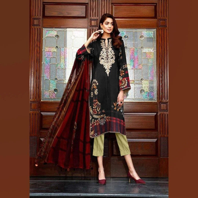 3 PCS CHARIZMA LINEN SUIT WITH MARINA PRINTED SHAWL CODE D-43