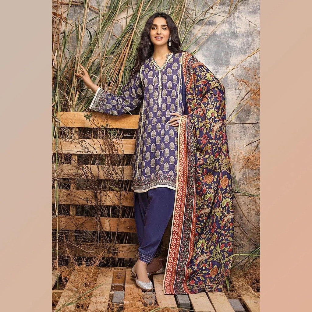 3 PCS GUL AHMED KHADDAR SUIT WITH WOOL SHAWL CODE D-50