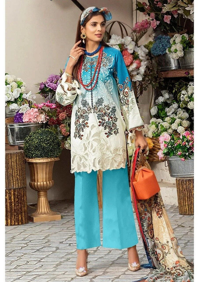 3 PCS MUSHQ EMBROIDERED LINEN SUIT WITH LINEN DUBBATA D-16