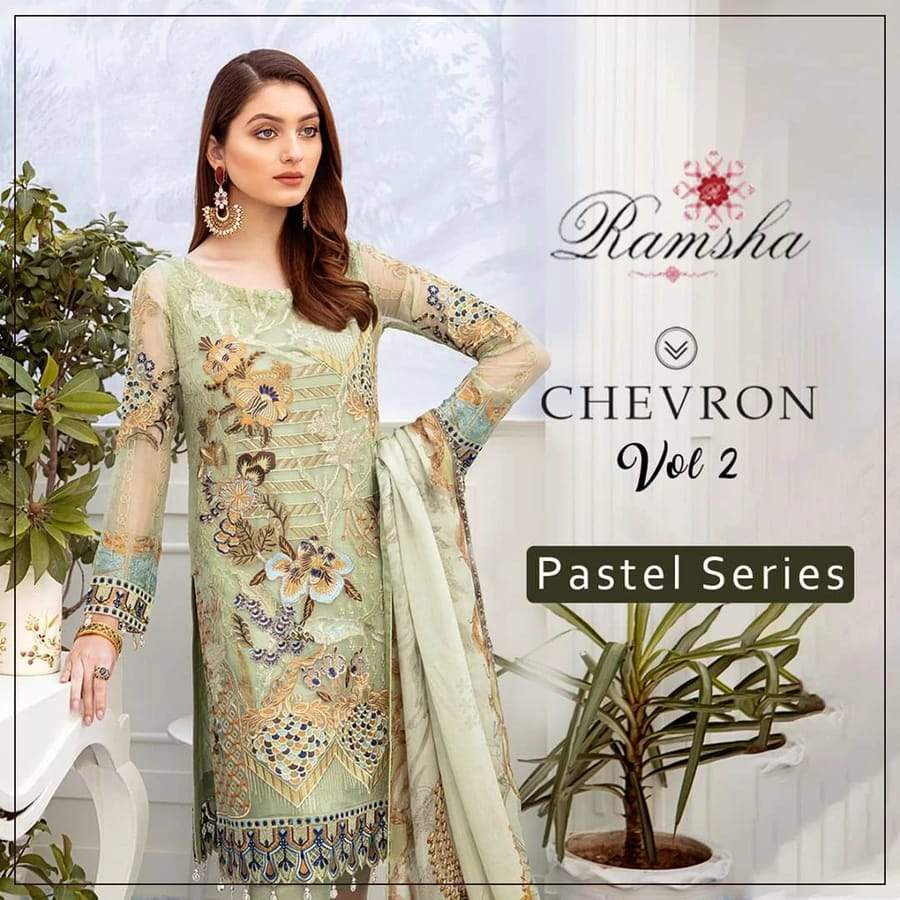 RS-3008 Lawn three piece suit Summer Collection