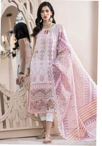 Noor By Sadia SA-286B Light Pink Lawn three piece suit Summer Collection
