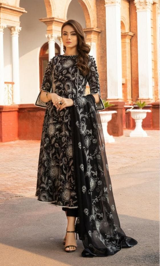 Bareeze Br-463 Black BEmbroidered Linen Three Piece Summer Collection