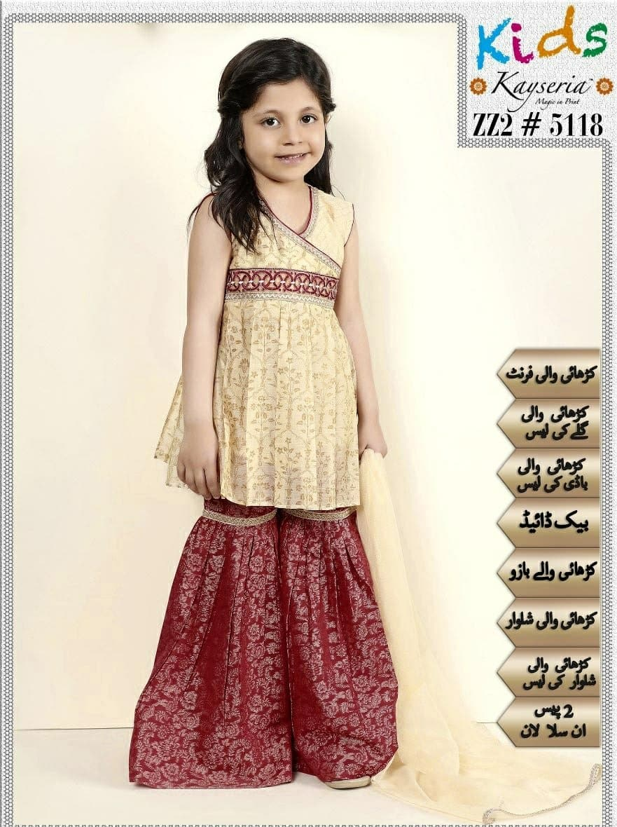 Maria B ZZ2-5118 Kids Wear Lawn Embroidered Two Piece