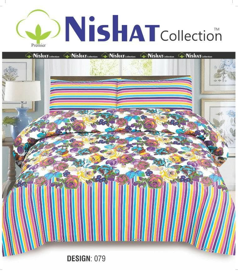 Nishat N-079 Pure Cotton King Size Bed Sheet