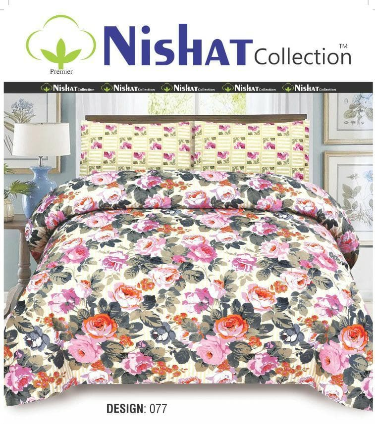 Nishat N-077 Pure Cotton King Size Bed Sheet