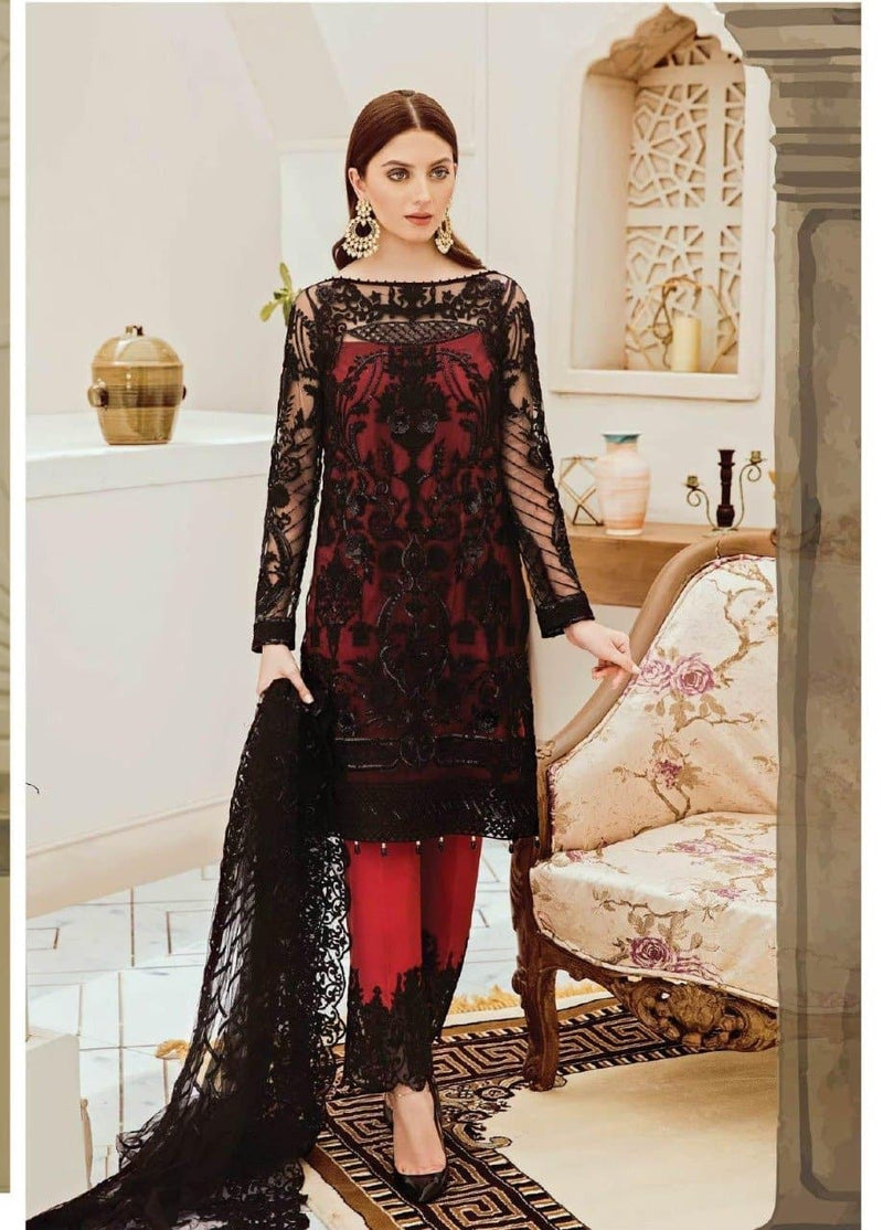 Zainab Chotani ZC-5029 Black Red Embroidered Three Piece Linen Collection