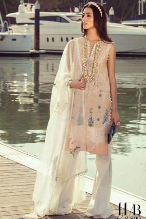 Ethnic ET-5A Tea Pink Embroidered Three Piece Linen Collection