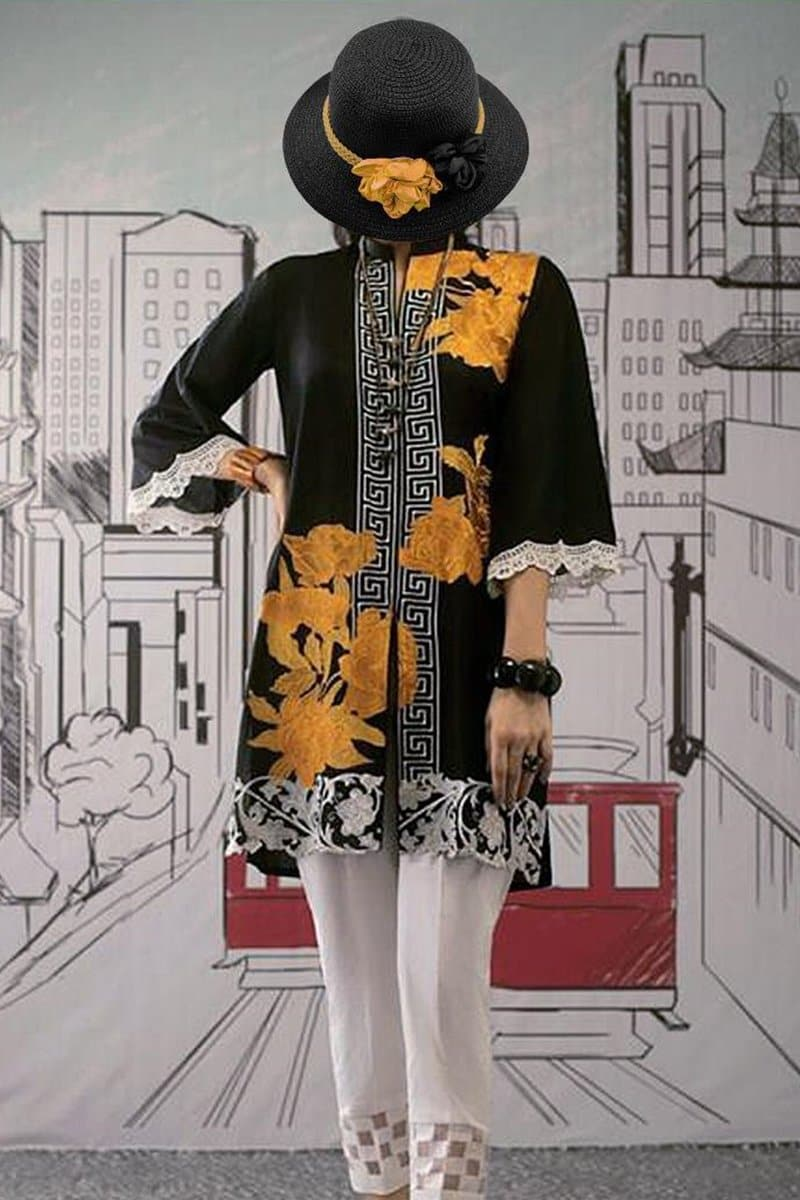 Charizma Back to Black Embroidered Linen two piece Winter Collection