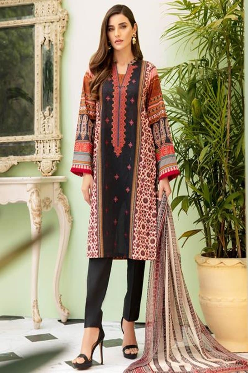 Firdous FR-10 Embroidered Three Piece Linen Collection