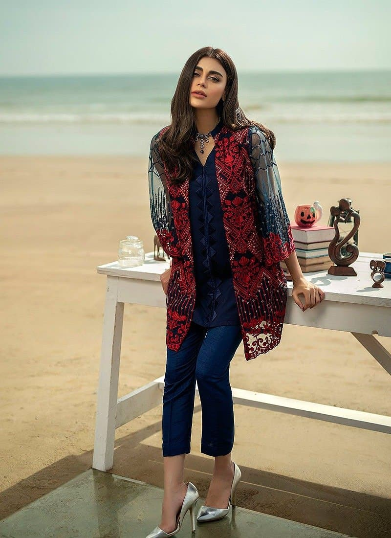 Aruze Blue Net embroidered Outer With Linen inner