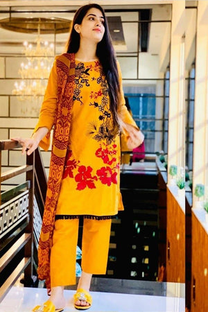 Charizma CH-6006 Yellow (Linen) Embroidered two piece Linen Collection