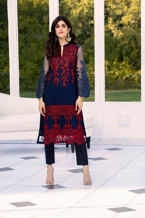 Azure AZ-6000 Blue Net embroidered Outer With Linen inner