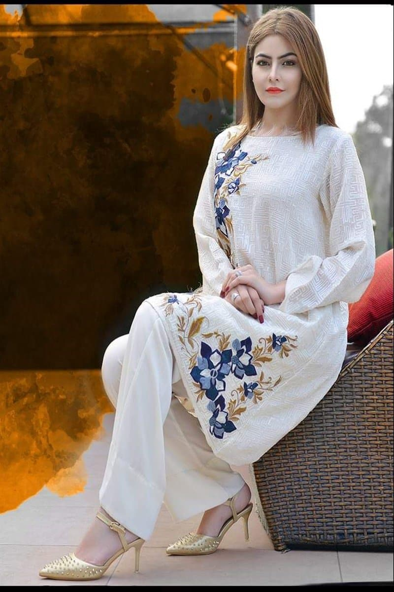 Ethnic ET-7514 White (Linen) Embroidered two piece Linen Collection