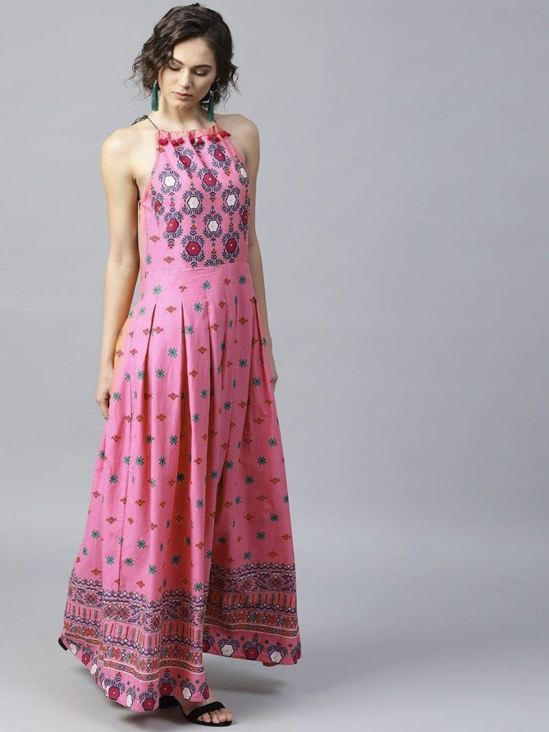 Indian Style Is-Frock Pink Embroidered Two Piece Linen Collection