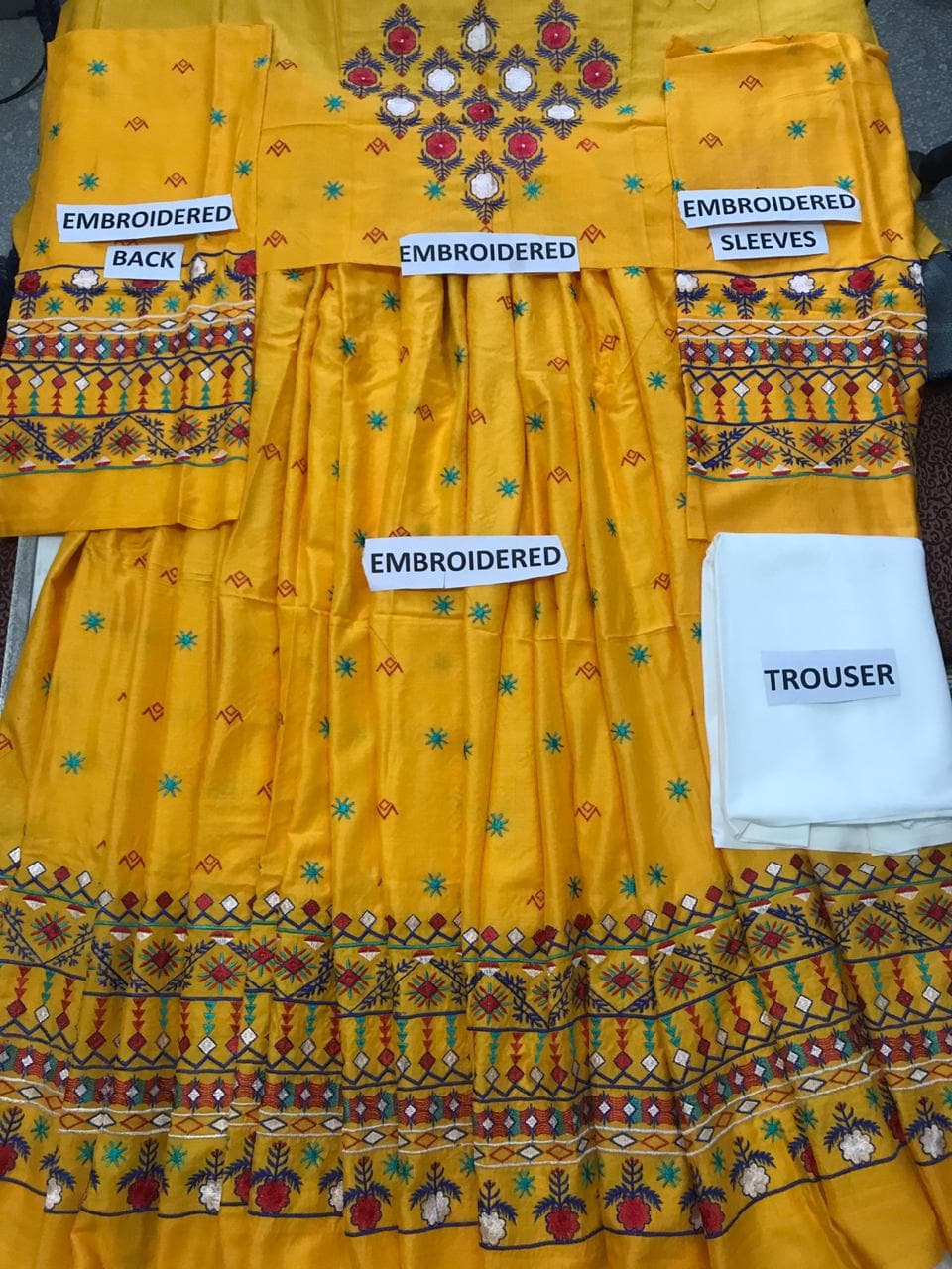 Indian Style Is-Frock Yellow Embroidered Two Piece Linen Collection