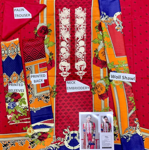 3 Pcs Ethnic Neck Embroidered Linen Suit With Wool Shawl Code D-59B - Chenab Stuff
