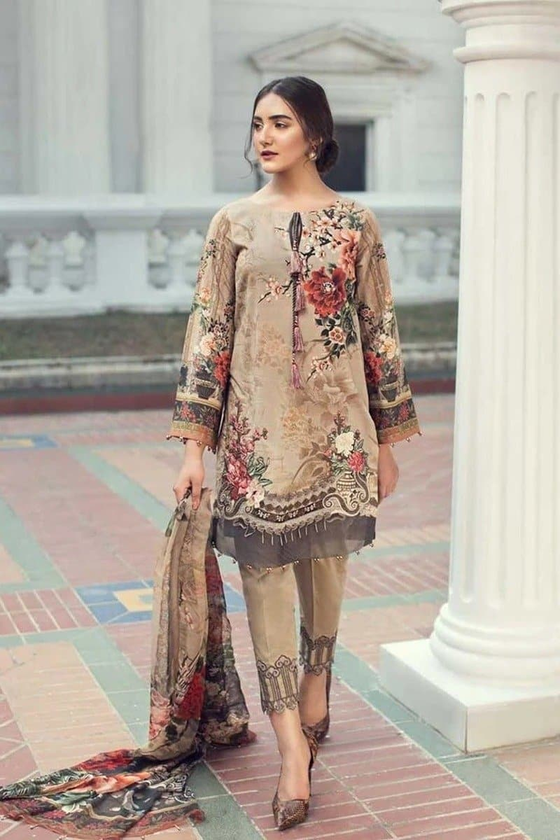 Jazmin D-06-D6 Alma Fleur Embroidered three piece Linen Collection