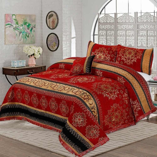 4 Pcs Velvet Bridal Bed Sheet D#WV006 - Chenab Stuff