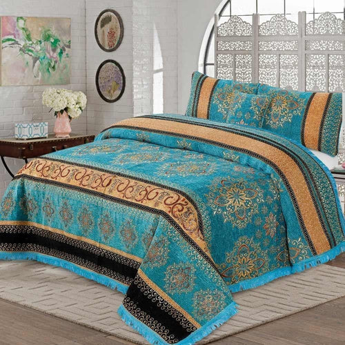 4 Pcs Velvet Bridal Bed Sheet D#WV007297 - Chenab Stuff