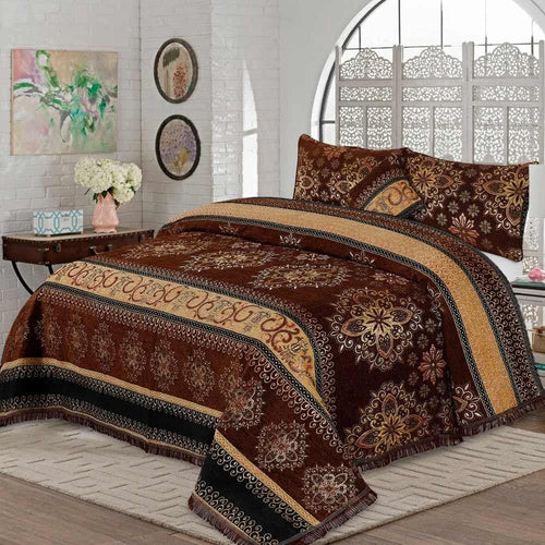 4 Pcs Velvet Bridal Bed Sheet D#WV008 - Chenab Stuff