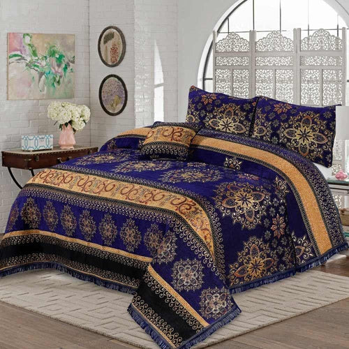 4 Pcs Velvet Bridal Bed Sheet D#WV009 - Chenab Stuff