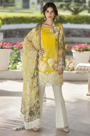 Mussamry Yellow Embroidered Three Piece Linen Collection