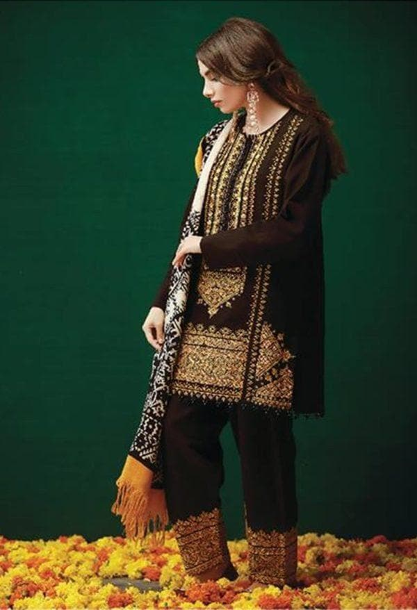 Khaadi KO18403 Black Linen Embroidered three piece With Woolen Shawl