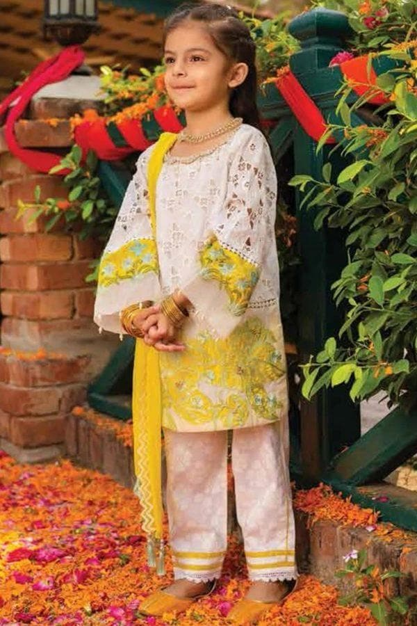 Charizma CH-12 kids Wear Lawn Chikenkari Embroidered two piece