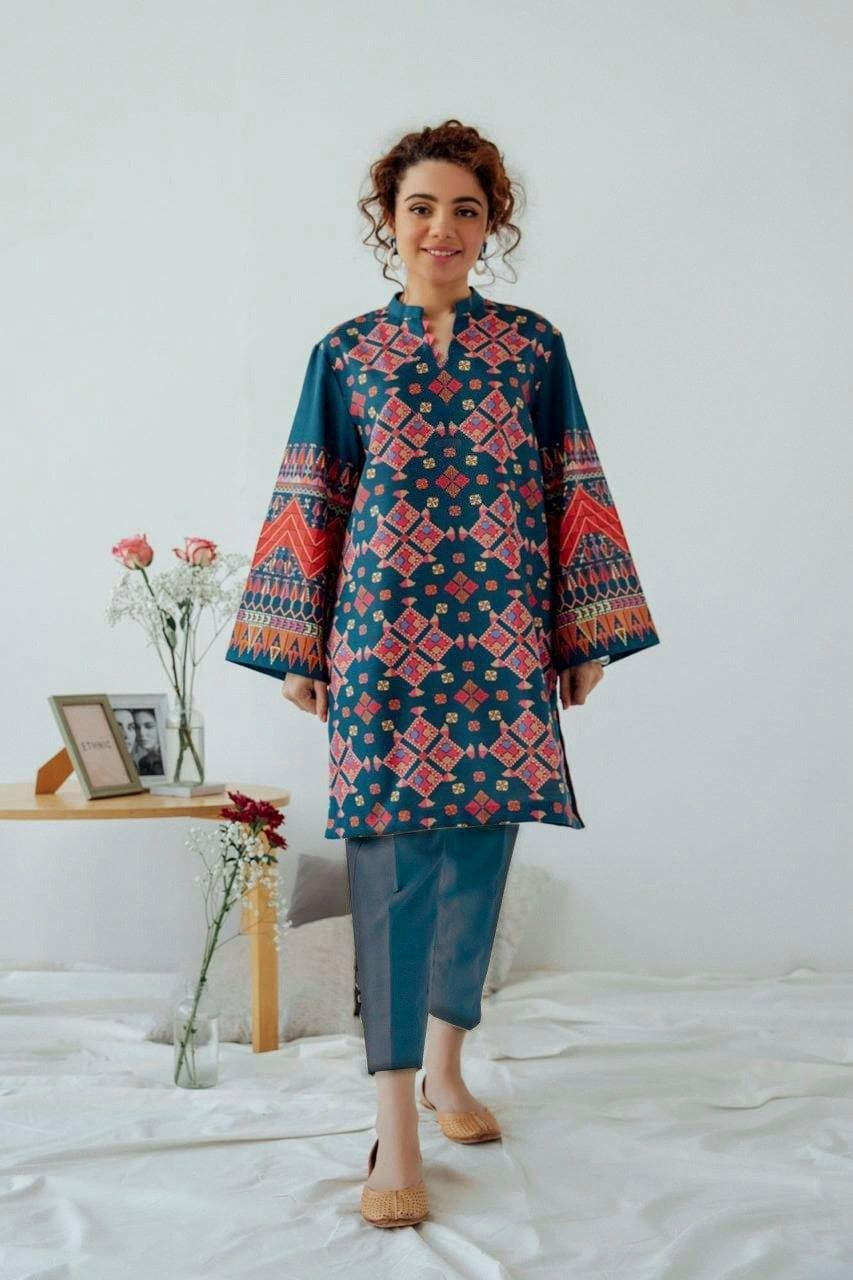 EMBROIDERED LINEN 2 PC DRESS- 100052