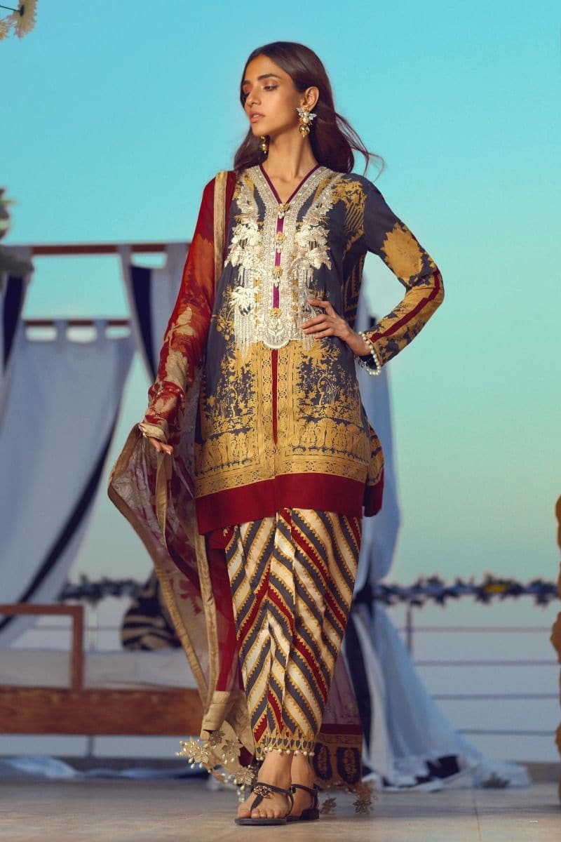 Sana Safinaz SS-3178 Blue (2020) Embroidered Three Piece Lawn Collection