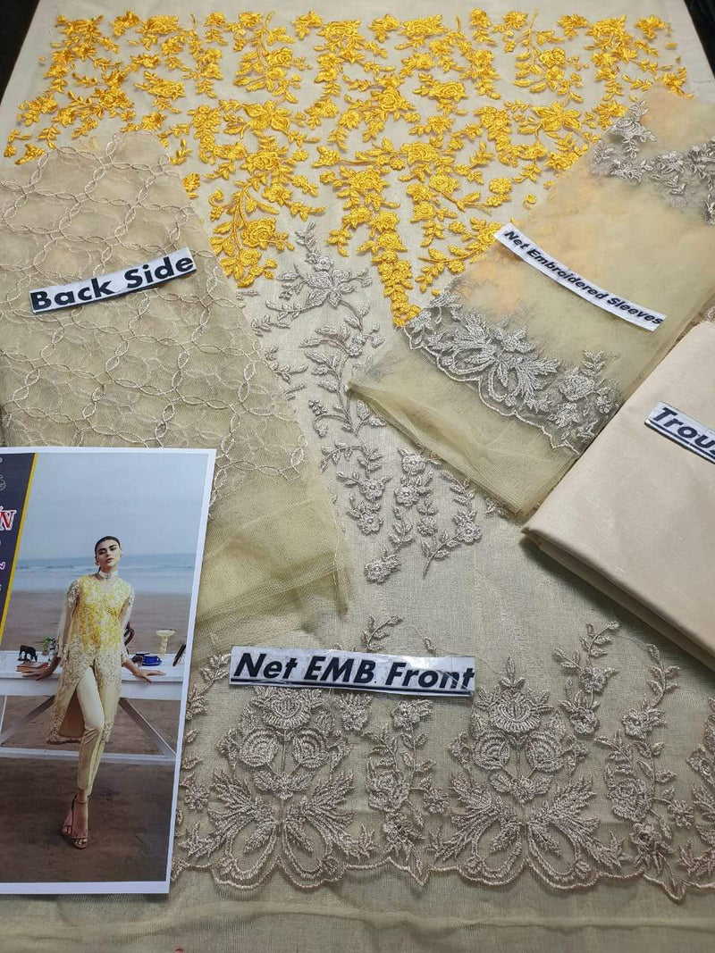 Aruze Yellow Net embroidered Outer With Lawn inner - Chenab Stuff