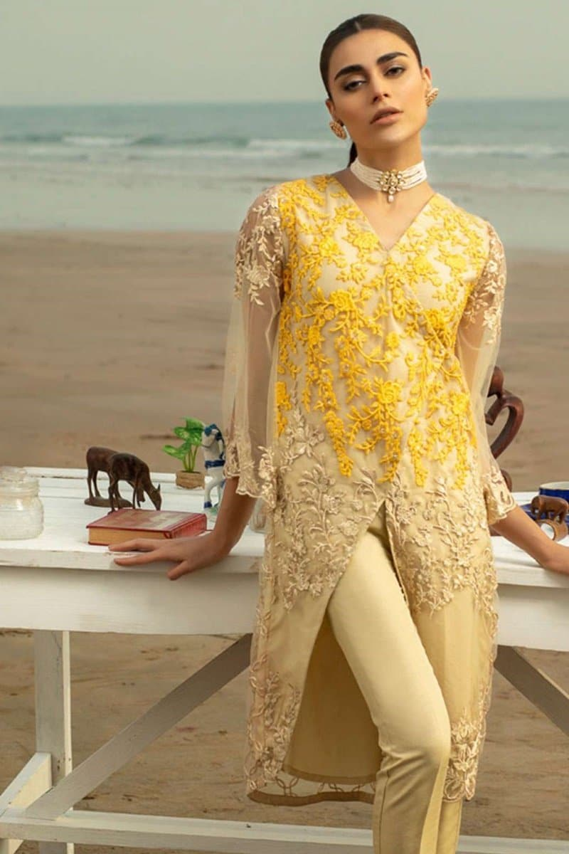 Aruze Yellow Net embroidered Outer With Lawn inner