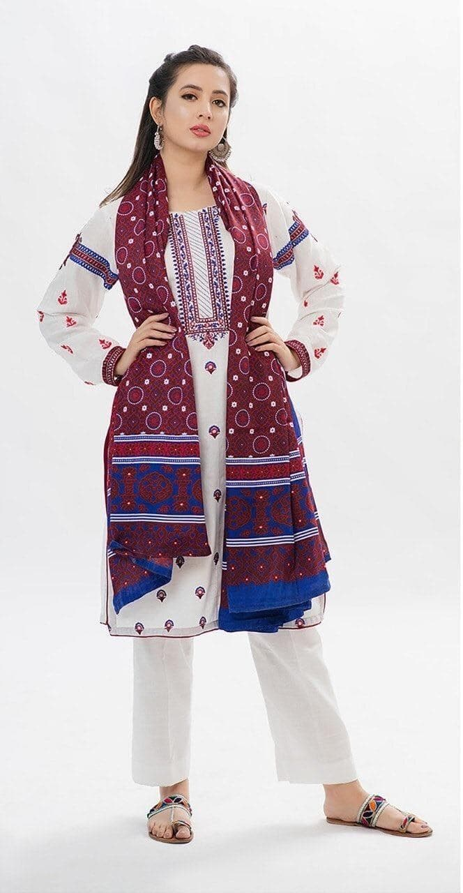 Khaadi Ajrak Jamalu Embroidered Three Piece Lawn Collection