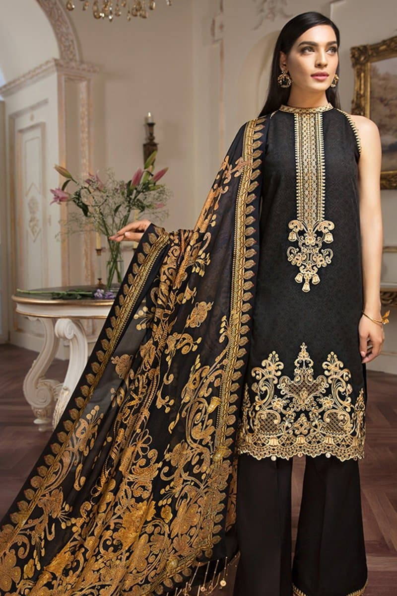 Anaya ANL-16A Black Lawn three piece suit Lawn Collection
