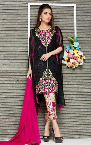 Sana safinaz D#3637 Black Embroidered Lawn two piece Summer Collection