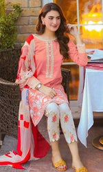 Maria B MB-223 Pink Three Piece Linen Collection