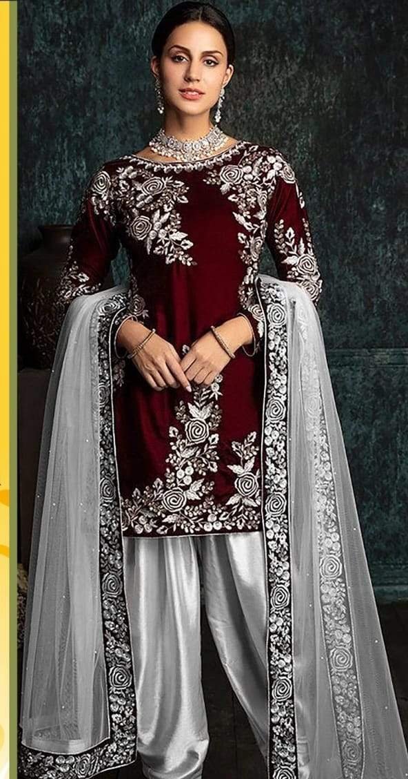Zainab Chottani ZC-42 Mehroon Embroidered Velvet Three piece Winter Collection